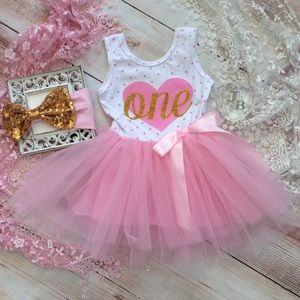 Other - Boutique Baby Baby Girls 1st Birthday Dress 2pc